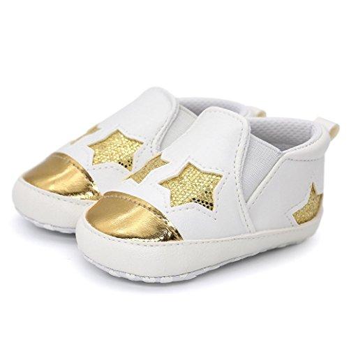 Ouneed® Krabbel schuhe , Herbst Winter Baby Girl Boys Bling herzförmige Stickerei High Cut Schuhe Sneaker Anti-Rutsch Soft Sole Kleinkind Gold