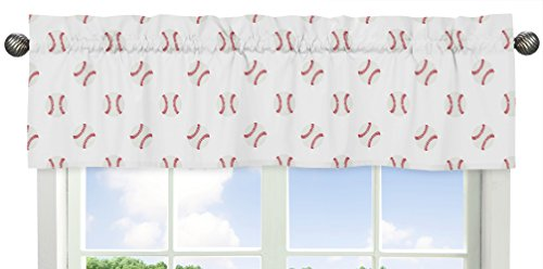 (Sweet Jojo Designs Red and White Window Treatment Valance for Baseball Patch Sports Collection)