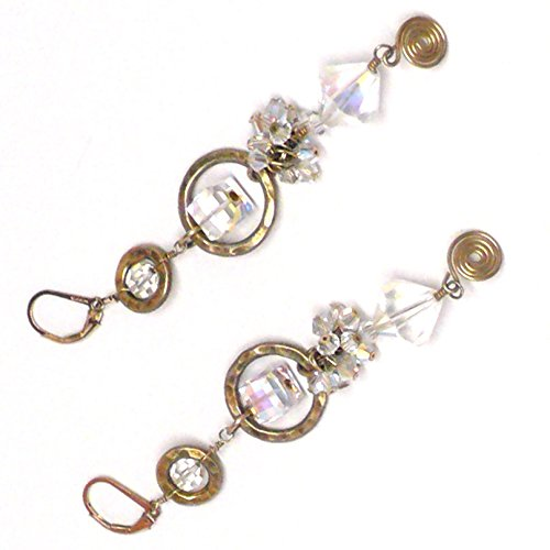 Hammered Vermeil Rings Austrian Crystal Cluster Drop Gold-Filled Chandelier Earrings