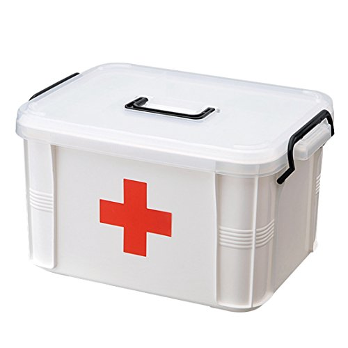 Dingtuo First Aid Kit Case Medicine Storage Box with Divided Compartments for for Home Office Car Workplace Travel L