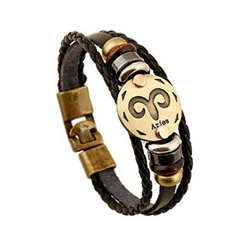 Fariishta Jewelry Handmade Aries Constellation Genuine Leather Wrap Bracelet