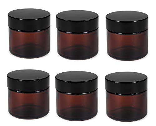 Premium Vials, 2 Oz AMBER Glass Jar Straight Sided with Black Lid - Pack of 6 (2 OZ, Amber)