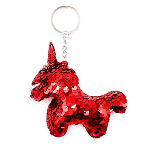 (Sperrin Pony Keychain Pattern Double-Sided Reflective Sequins Bags Pendant Red)