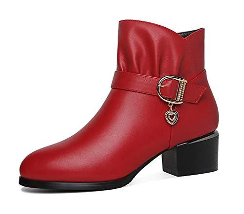 Mujer De Otoño Zapatos Tacón Versátiles Invierno E Cuero A Botas Grueso 1wxqZ5