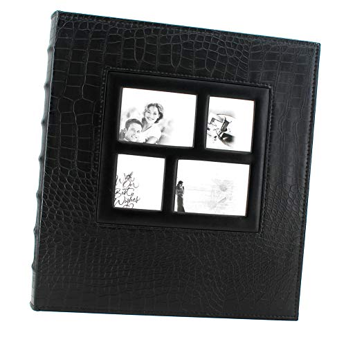 WonderFour Photo Picture Album 4x6 600 Photos, Large Capacity Leather Cover, Family Wedding Anniversaries Baby Vacation Album, Holds 600 Horizontal or Vertical 4x6 Photo (Black, Crocodile Grain) ()