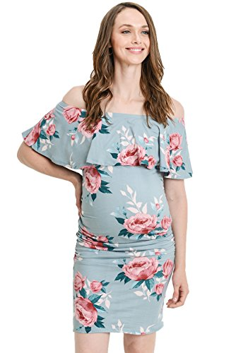 Hello MIZ Women's Floral Ruffle Off Shoulder Maternity Dress - Made in USA (X-Large, Jade Flower)