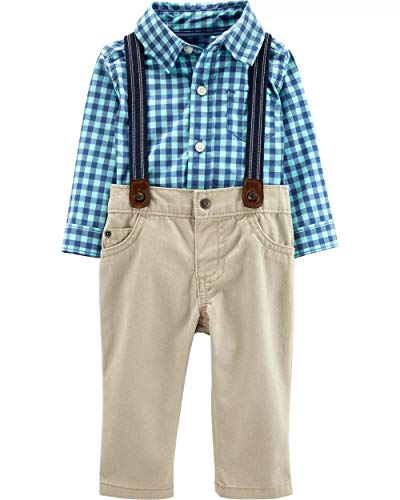 Carter's Baby Boys' 3 Piece Dress Me Up Set (12 Months, Blue/Khaki)