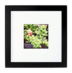 Tiny Mighty Frames - Wood, Square, Instagram, Photo Frame, 4x4 (Mat), 8x8 (1, Black)