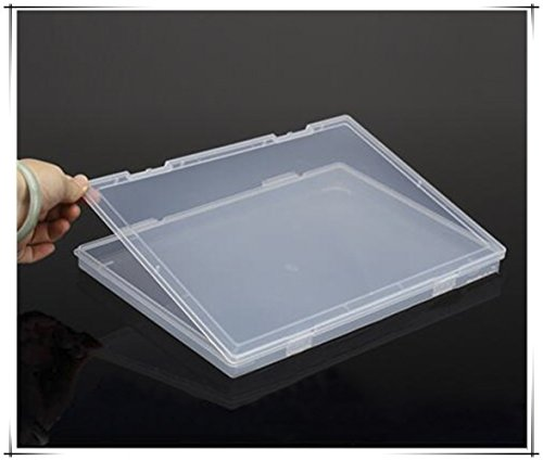 (Portable A4 File Box Transparent Plastic Box Office Supplies Holder Document Paper Protector Desk Paper Organizers 1Pcs Case PP Storage Collections Container Magazine Organizers Box Case)
