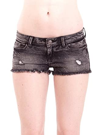 Low Rise Black Denim Shorts