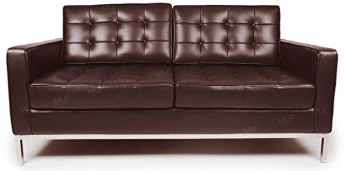 MLF Florence Knoll Style Loveseat Sofa, Dark Brown Top Grain Aniline Leather