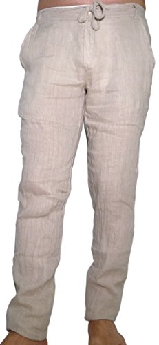 Lino Estivo Cerniera Leggero Cotone Beige Ragazzo Lungo Slim Uomo Pantalone IqT5t