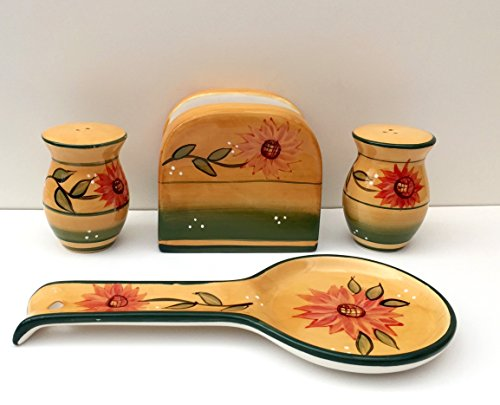 Tuscany Country Sunflower Hand Painted Ceramic Table Top Set, 82925/28 by ACK ()