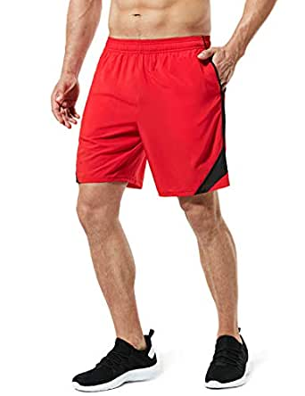 "TESLA Men's Running Shorts Quick Dry Mesh Liner Jogging Training 5"" MBH27-RED"