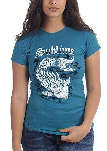 Sublime Koi Teal Junior's T-Shirt, Size: Large, Color: Teal