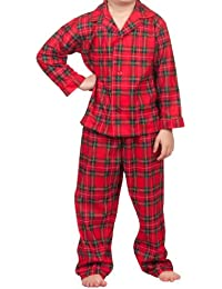 Tom & Jerry Little Boys Christmas Morning Plaid Tailored 2-Pc Button PJ (2T - 7)