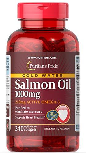 Puritan's Pride Omega-3 Salmon Oil 1000 mg (210 mg Active Omega-3)-240 Softgels -
