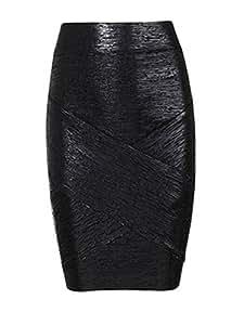 1597931J07V252150SL Bright Style High Waist Solid Skinny Skirt Color Black Size L