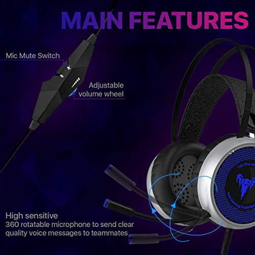 [Upgraded 2020] Gaming Headset IMBA V8 for 3D Surround Sound, PS4 Xbox One Headset | Noise Cancelling Mic Chat Headset…