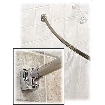Brushed Nickel Curved Shower Rod