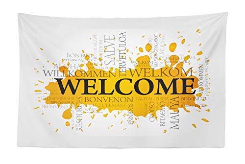 Lunarable Welcome Tapestry, Welcome Words in Different Languages on Color Splash Background, Fabric Wall Hanging Decor for Bedroom Living Room Dorm, 45