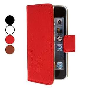 Procesamiento de dos días -Color sólido PU Funda de cuero con ranura para tarjeta para el iPhone 5 (colores surtidos),Red