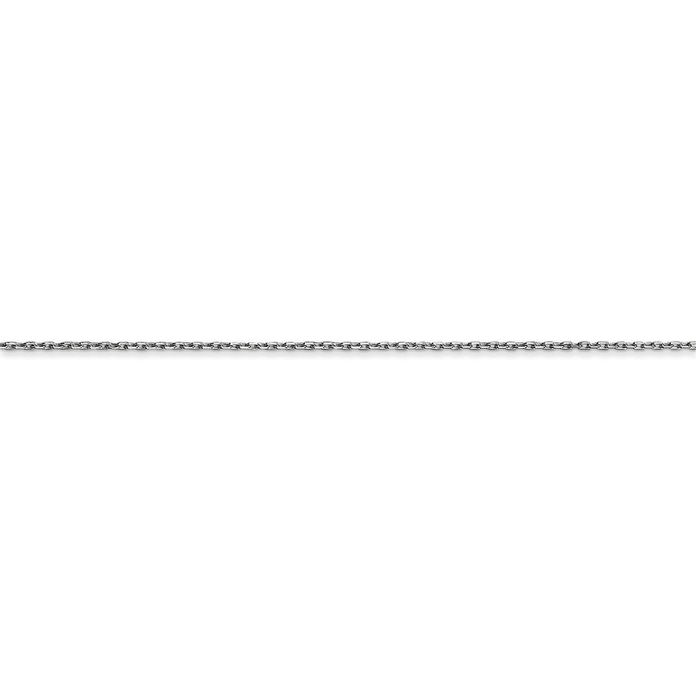 Solid 14k White Gold .8mm Diamond Cut Cable Chain Necklace with Secure Lobster Lock Clasp
