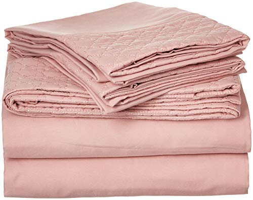 Elegant Comfort 39RW-Quilted Full-Dusty Rose Sheet Set