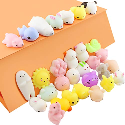 TKOnline 30PCS Lovely Soft Squeeze Mini Animal Mochi Toys, Slow Rising Squeeze Animals Kawaii Mochi Squeeze Toys Mini Soft Squeeze Toys Dumpling Dolls Stress Reliever Toys