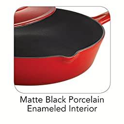 Tramontina Enameled Cast Iron Covered Skillet, 10-Inch, Gradated Red