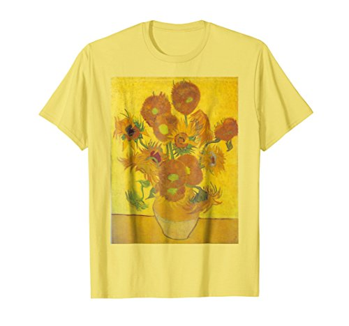 Mens Sunflowers by Vincent Van Gogh T Shirt Medium Lemon