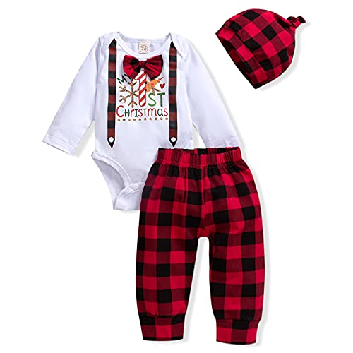 My 1ST Christmas Baby Boy Outfit Newborn Clothes Long Sleeve Romper Plaid Pant Hat Baby Boy Clothes Sets (Snowflake, 12-18 Months)