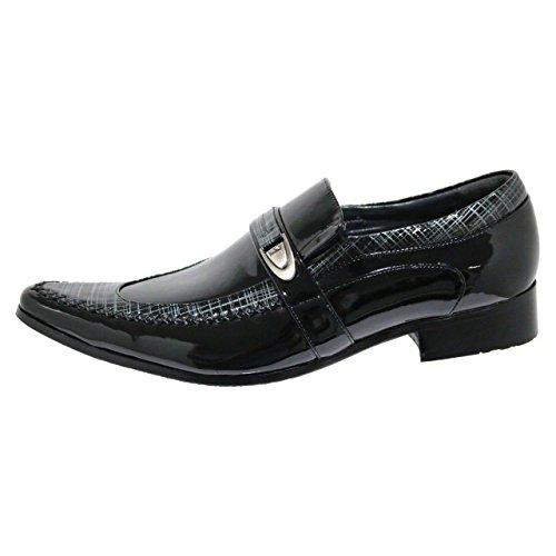 Robelli Designer Herren Lackleder Leder & Crosshatch Design Smart Slipper Schuhe