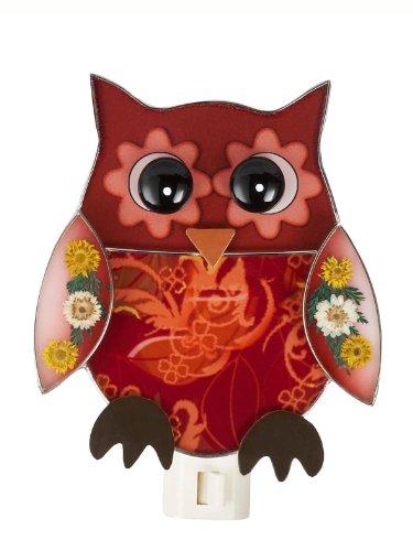 Night Owl Bird (Red Owl With Dried Flowers NightLight by Ganz)