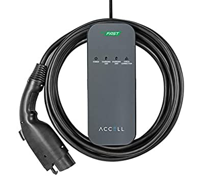 Accell AxFAST Dual-voltage Portable EVSE - 120/240V Electric Vehicle Charger Level 2 compatible with Tesla Chevy Volt Nissan Leaf Chrysler Pacifica Toyota Prius Hyundai Electric Cars and more