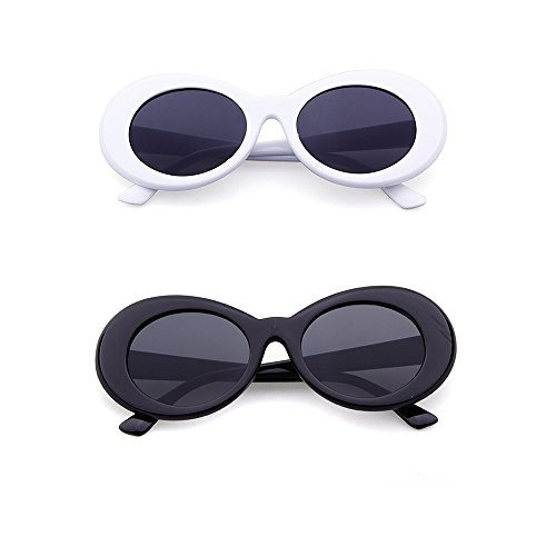 Bold Retro Oval Mod Clout Goggles Thick Frame Kurt Cobain glasses (2pack White&Black, 52) -