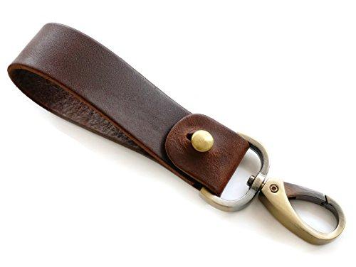BrownBeans, Mens Leather Waist Belt Loop Key Fob Chain Hook Hanging with Clip (BBKC6003) (Leather Slip Belt)