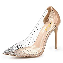 Nude Studded Pointed Toe Transparen Heels with Bowknot