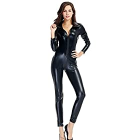 - 418GTWKRxgL - Ensnovo Womens Shiny Metallic Lycra Spandex Shirt Collar Zipper Catsuits