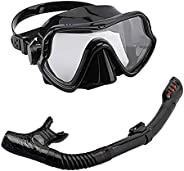 Full Face Snorkel Mask, Anti-Fog Dry Snorkel Mask Set, Easy Breathing Snorkeling Gear for Adults Swimming Snor