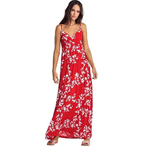 (Ellos Women's Plus Size Knit Surplice Maxi Dress - Hot Red White Floral, M)