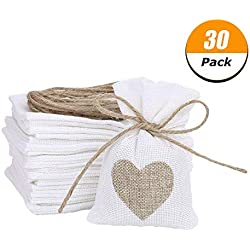 "30 Pack Burlap Bags Gift Pouches Heart Jewelry Pouches Sacks Storage for Wedding Favors, Party, DIY Craft and Christmas, 3.9""*5.5"""
