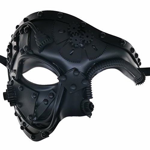 CCUFO Steam Punk Phantom of The Opera Vintage Black Mechanical Men Venetian Mask for Masquerade/Party/Ball Prom/Mardi Gras/Wedding/Wall Decoration…