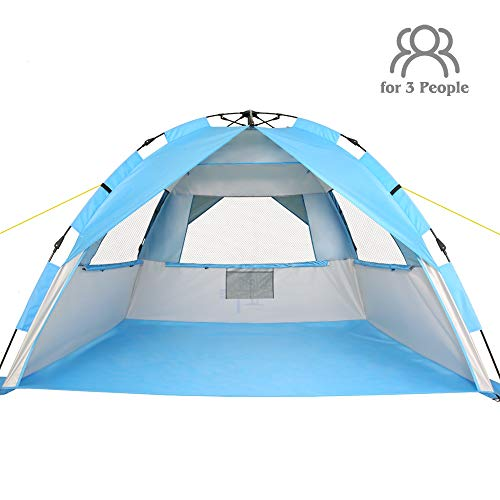 ZOMAKE Instant Beach Tent 3-4 Person, Pop Up Sun Shelter Easy Setup Portable Sun Shade Tent with SPF 50+ UV Protection for Kids Family(Silver) (Living In A Shelter With A Baby)
