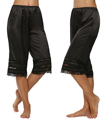 Goodfans Women's Elastic Waist Culottes Slips Satin Loose Sleep Pants -