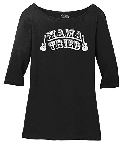 Ladies 3/4 Sleeve Tee Mama Tried Cute Country Music Southern Rebel Shirt Jet Black 2XL
