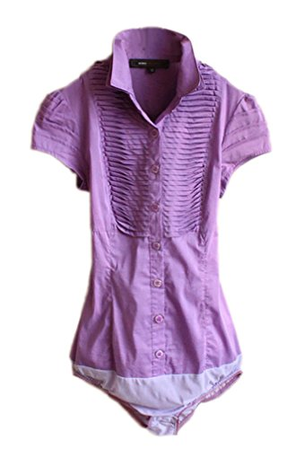 Soojun Women Short Sleeve Button Down Career Shirt Bodysuit Blouse,Style 3-purple,US 0