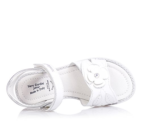 NERO GIARDINI - Sandale blanche en cuir, avec velcro, fleur avec strass sur la bande antérieure, fille,filles,enfant