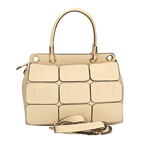 27x17x15 Véritable À Cm Made Chicca Cuir En In Beige Borse Italy Sac Bandoulière qwZOSfH