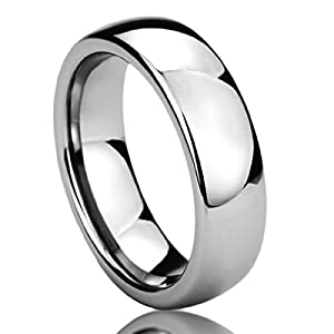 Prime Pristine 6mm Stainless Steel Wedding Band Ring for Men & Women High Polished Classy Domed Ring for Men & Woman